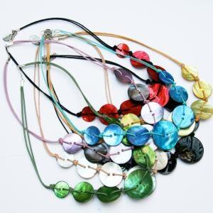 Paua Shell Button Necklace