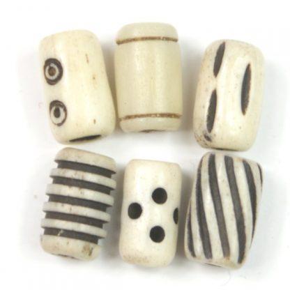 White Patterned Bone Short Tube