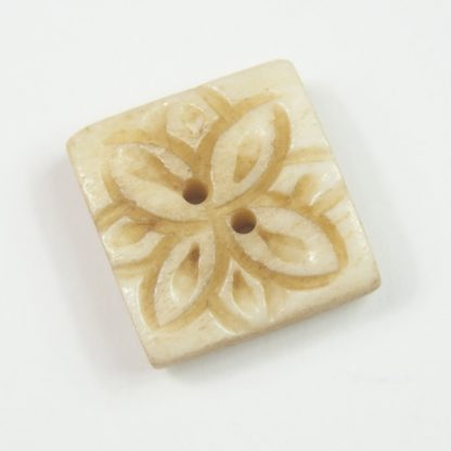 Natural Square Carved Flower Button